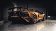 Золотой Lamborghini Aventador SV Roadster с обвесом от Novitec