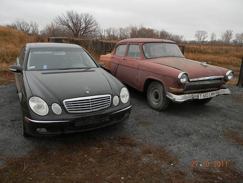 три ГАЗ-21 «Волга» и один Mercedes-Benz W211 E500, чтобы сделать этот проект